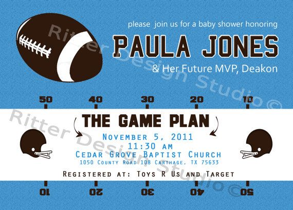 best football themed baby shower images on   football, Baby shower invitation