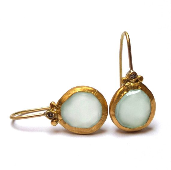 Earrings - Chalcedony Earrings - Gold Earrings - 24K Solid Gold Earrings - Diamond earrings - Free Shipping!