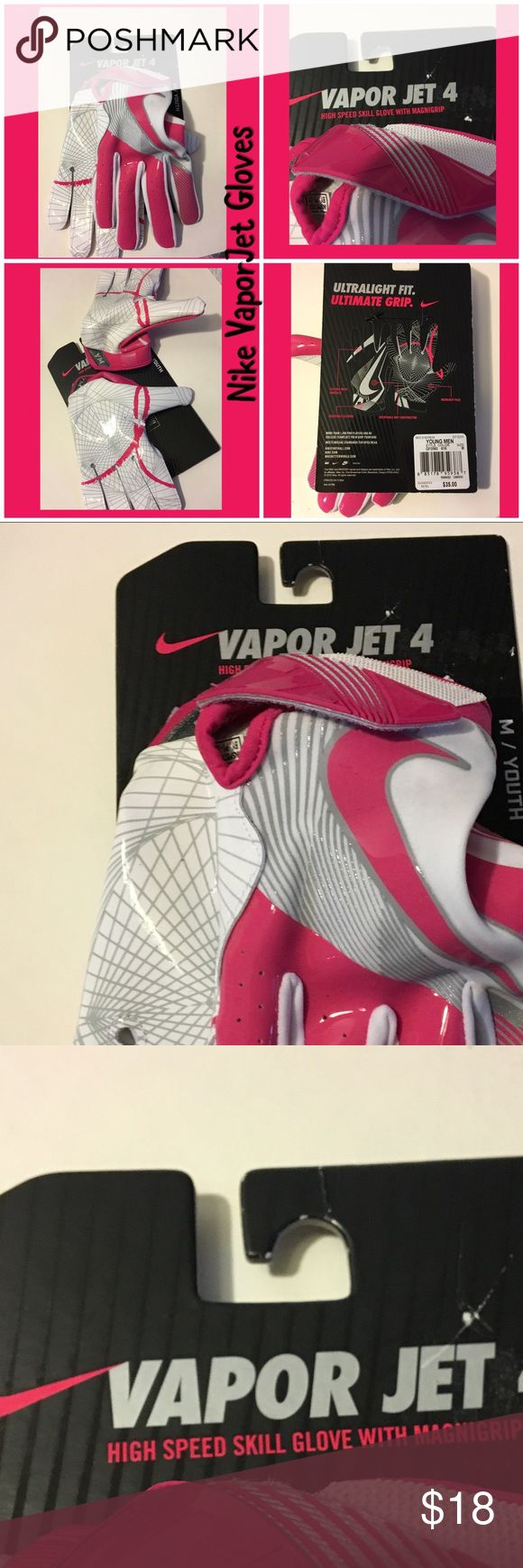 Nike Vapor Jet medium youth pink white skill glove Nike Vapor Jet high speed skill gloves in youth medium. Ultralight fit, ultimate grip. Flexible mesh knuckles, magnigrip palm, breathable knot construction, adjustable closure, Nike football gloves. MSRP $35. Come from a smoke-free home. Please see my other items. Bundle & save! Nike Other
