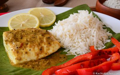 Halibut Steamed in Banana Leaf, or Meen Pollichathu, is a delicious Indian seafood recipe that makes a beautiful presentation. My recipe is easy to make and is perfect for a special meal.