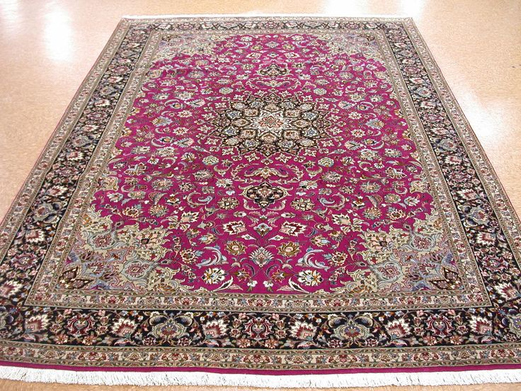 7 X 10 Persian Tabriz Hand Knotted Wool Silk Purple Navy