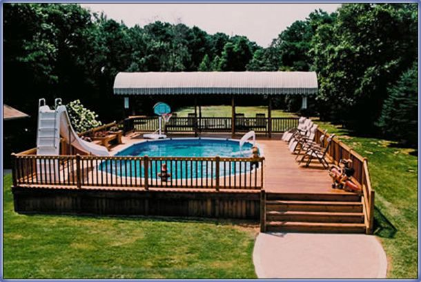 Swimming pool remodeling renovation ideas intheswim for Above ground pool decks for small yards