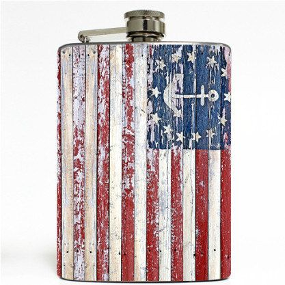 Nautical American Flag Stainless Steel 8oz Hip Flask by Swagstr
