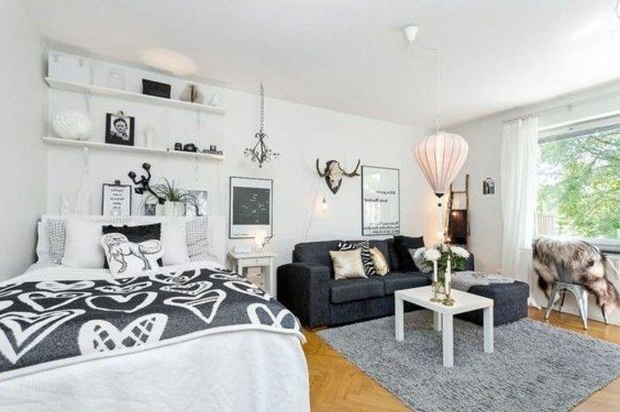 plan studio 20m2 sol en parquet clair, tapis gris clair, canapé en gris foncé