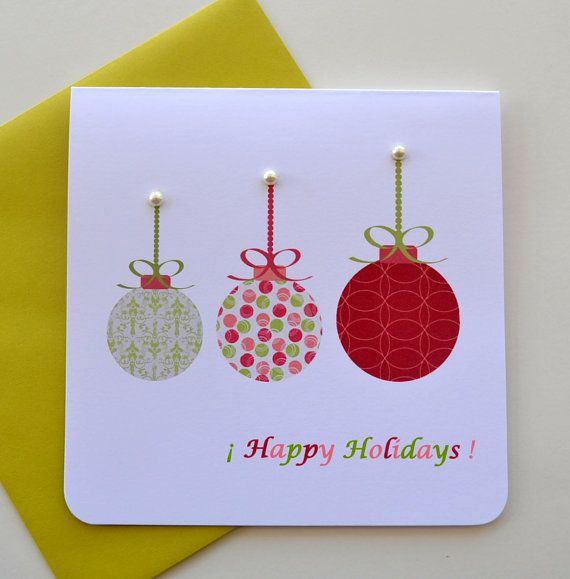 Three Colorful Christmas Balls  Happy Holidays  by yarisiandco, $4.25