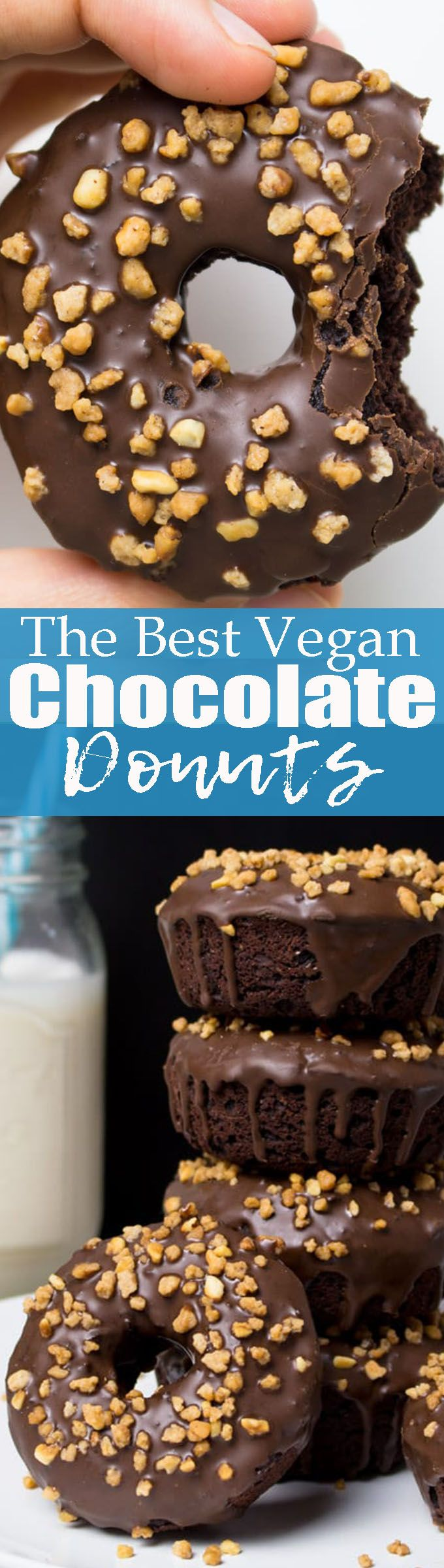 You won't believe that these vegan chocolate donuts with hazelnuts are secretly healthy! They're one of my favorite vegan desserts! <3 Vegan baking can be so easy! | Posted By: DebbieNet.com