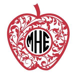 Silhouette Design Store: apple flourish monogram frame
