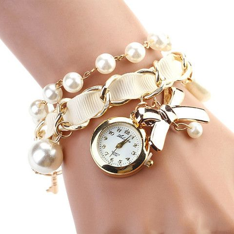 Women watches pearl bowknot decoration leather band analog quartz Bracelet