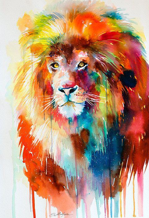 25 Best Ideas About Watercolor Lion On Pinterest