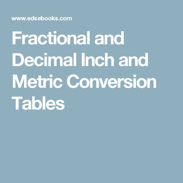 inch to metric conversion pdf