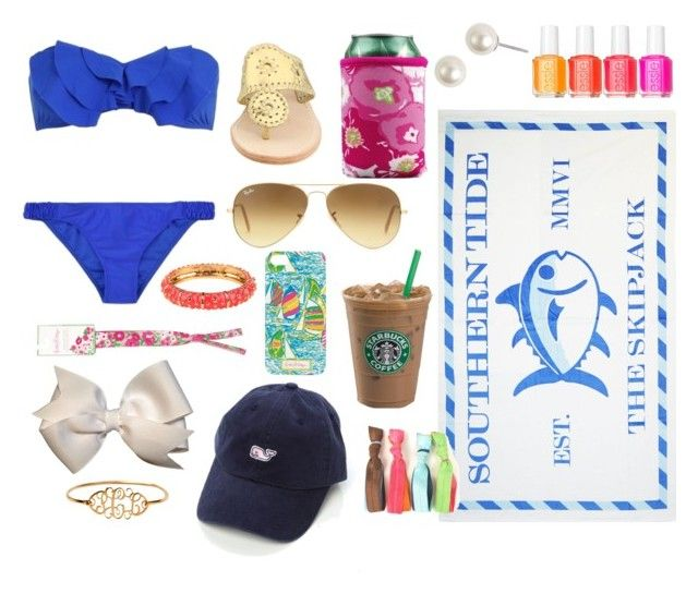 Summer Essentials by classically-preppy on Polyvore featuring beauty, Essie, Vineyard Vines, Ray-Ban, Lilly Pulitzer, Givenchy, Jack Rogers and Southern Tide