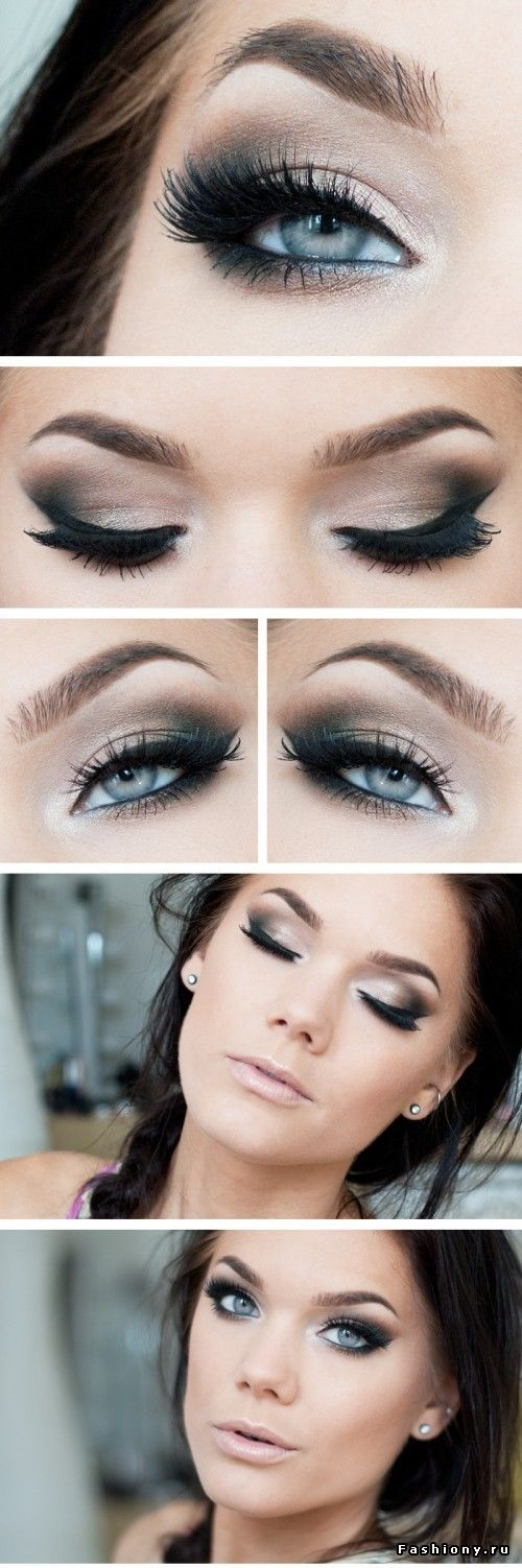 dark smokey eye for blue eyes!   If I were to match the colors here I would use #MAC: Ploof on lid, inner, and brow bone; wedge or cork slightly on mid crease; and carbon on v crease.