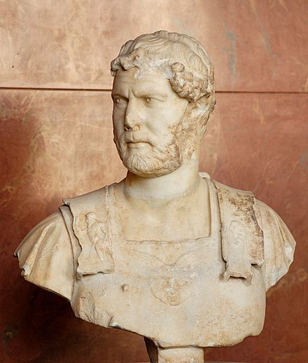 Hadrian in armour, wearing the gorgoneion; marble, Roman artwork, c. 127–128 AD, from Heraklion, Crete, now in the Louvre, Paris
