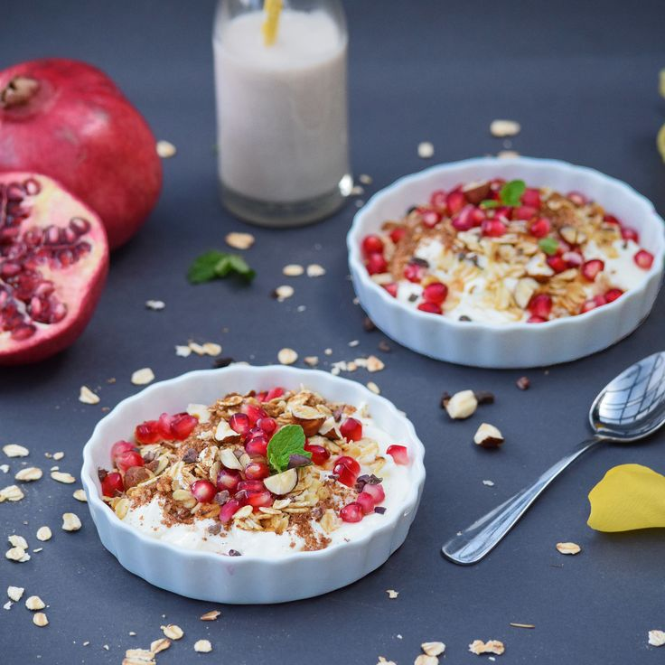 New recipe on the blog! Toasted Oat, Hazelnut and Cacao Granola with Rosewater. The world doesn't really need another granola recipe.  But I made this sweetener-free granola using what I had for the @eatdrinkblogau breakfast cereal photo comp, and enjoyed eating the end product so much I had to share anyway! Served here over Greek yoghurt with pomegranates, mint and an extra drizzle of rosewater.