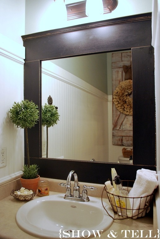 Half Bath: Decor Ideas, Guest Bathroom, Bathroom Inspiration, Small Bathroom, Half Bath, Bathroom Mirror, Wire Baskets, Frames Mirror, Bath Ideas