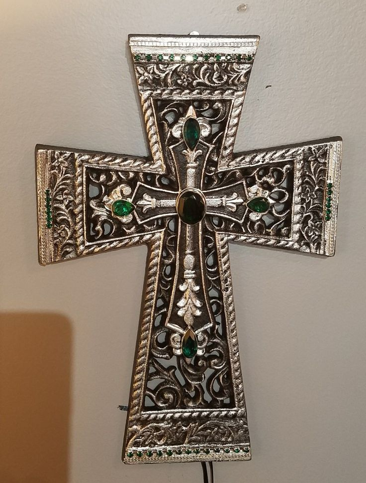 One of a Kind cross with genuine green tourmaline stones $89.50, if interested please call (412)784-8090