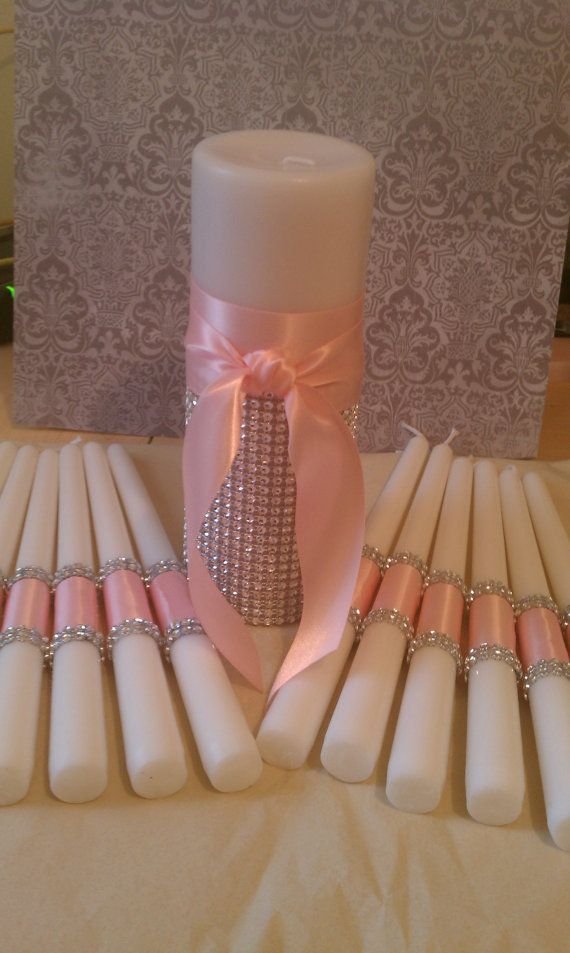 Couture Bling Satin Unity Candles Set by FanciFlamegirl on Etsy