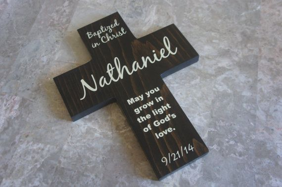 Cross for Baptism  Personalized name  Date and by Frameyourstory