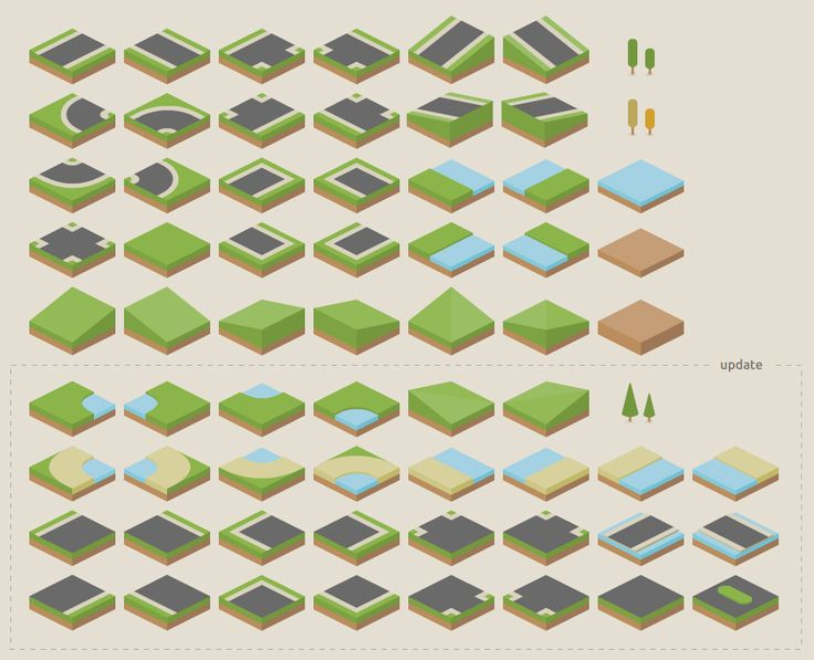 Isometric terrain tileset. Super clean, vector, with strict grid system.