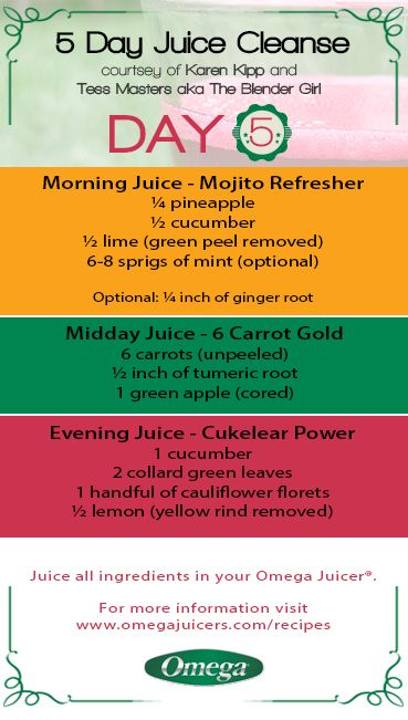 5 Day Juice Cleanse Day 5 - Last Day #Detox & #Cleanse with Omega Juicers for a #Healthier You! http://omegajuicers.com/recipes/recipe-type/5-day-juice-cleanse/