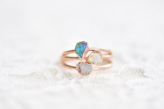 Raw opal ring Opal ring Fire opal ring Rough opal ring
