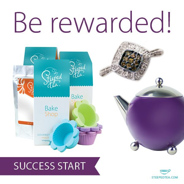 Join our team and reap the rewards!  As a Steeped Tea Consultant, your hard work & dedication never goes unnoticed. Success Start rewards include baking mixes, teas, hardware and even the coveted Chocolate Diamond Ring!