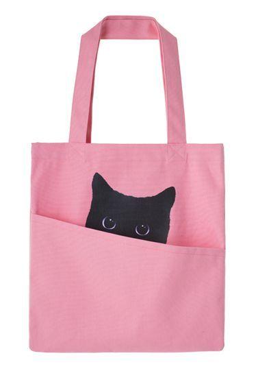 Got the cat in the bag! - pink jute bag.