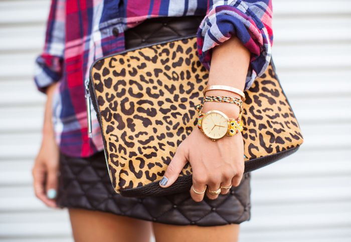 plaid + quilted leather + leopard clutch #3.1PhillipLim