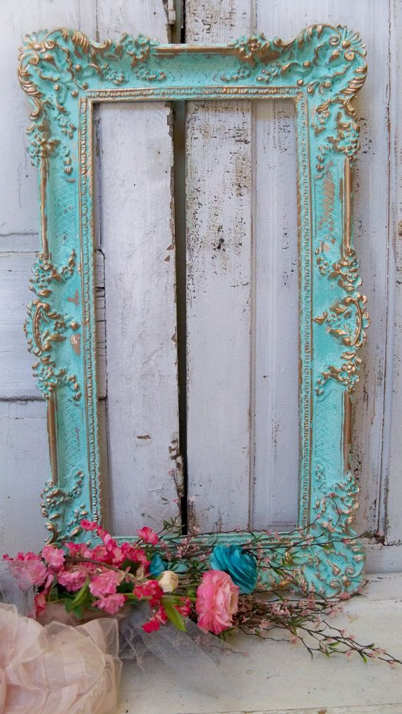Large frame wall decor aqua blue ornate accented gold shabby chic home decor Anita Spero on Etsy, $250.00