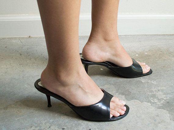 90s Black Open Toe Kitten Heels Tag Size 8 Heels Kitten Heels Black Open Toe