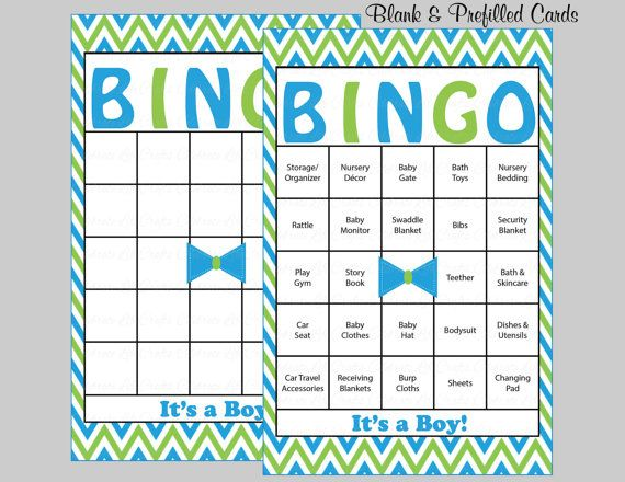 100 Bow Tie Baby Shower Bingo Cards   100 Prefilled Bingo Cards   Boy Baby  Shower Game   Blue Green   Printable Download   B1005