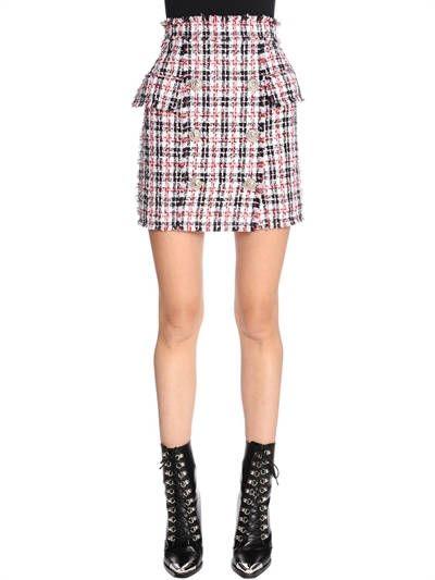 50785ed85b BALMAIN, High waisted fringed tweed mini skirt, Red/white/blue, Luisaviaroma