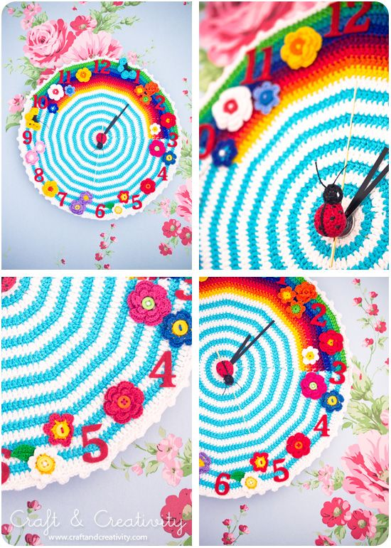 Grandmas Clocks - by Craft & Creativity Crochet clocks and pattern to make it yourself.