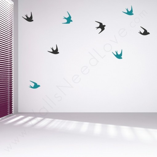 Sparrow Bird Wall Decals above the fireplace