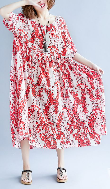 e6162c1f28fb women-red-linen-maxi-dress-oversize-short-sleeve-print-long-cotton-dresses -top-quality-o-neck-traveling-clothing