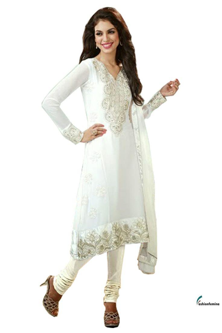 Fashionfemina Plushy Pale White color Salwar Kameez ...
