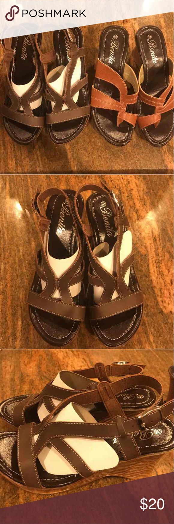 Brown Heeled Sandals Camel Heeled Sandals Wedges Both are brand new, with box. Will not separate, price is firm. Perfect for the spring and summer. Spruce up your footwear with this gorgeous wedge set.  Size-8.5 Shoes Wedges