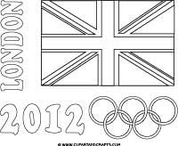 London 2012 Olympics Coloring Poster Rings And UK Flag