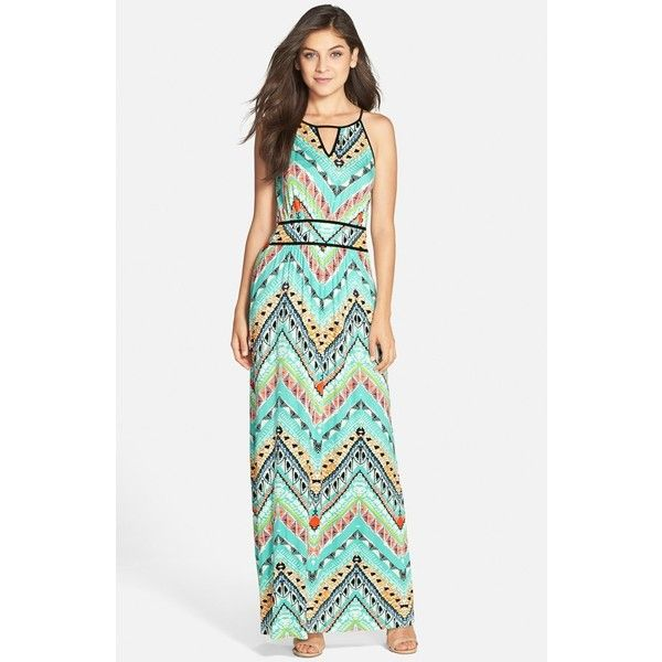 FELICITY & COCO Print Halter Maxi Dress ($99) ❤ liked on Polyvore