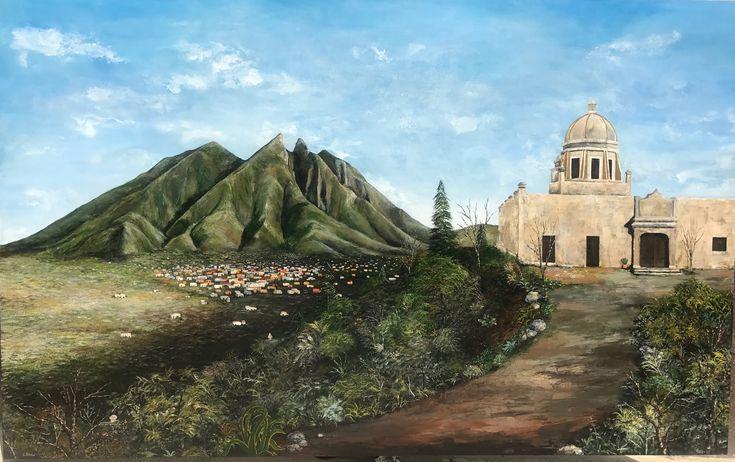 RECUERDOS DE MONTERREY Jacqueline Shaw 1.70m x 2.70m Acrilico y Esmalte s/tela  #jshawart #art #monterrey #obispado