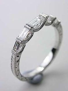 princess cut diamonds and vertical baguette diamond wedding band - Google Search