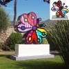 "Romero Britto's ""Garden Butterfly"" Sculpture Series Silver Edition 2005, 10"" x 10"" x 4.75"" Edition of 1000 27"" Aluminum Sculpture 2009 29"" x 20"" x 12"" Edition of 48 Monumental 2006 108"" x 82"" x 24"" Edition of 48, 6 AP, 6 H. Learn more about Romero Britto and Florida (The Sunshine State) at: www.floridanest.com"