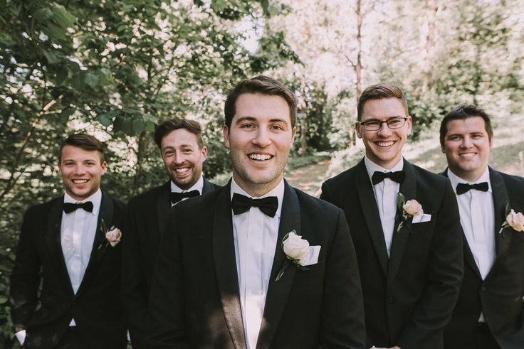Wedding season has kicked off and we just love seeing our grooms in Hardy Amies. Here's Matt and his groomsmen in our black bows.  Photography: Cam Grove. As featured on Ivory Tribe #groom #bowtie #wedding #style #groomsmen #style #ideas
