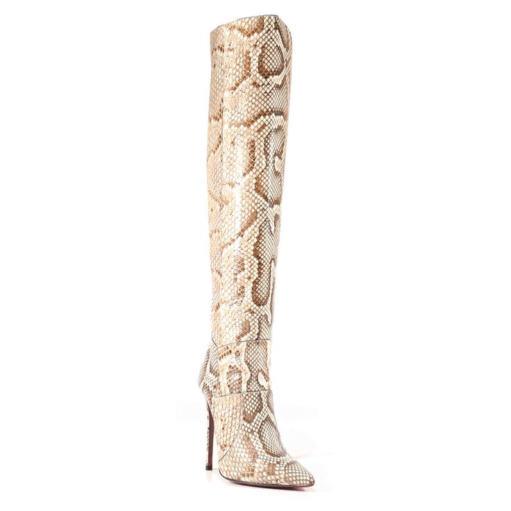 Cesare Paciotti Womens Shoes Pitone Roccia Beige Python Boots (CPW3001) Material: Python  Color: Beige    Comes with original box and dustbag. Made in Italy. PG442010P-ROCCIA