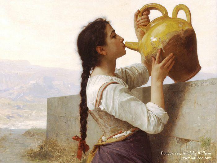 Remekművek Festmények: William Bouguereau olajfestmények Háttérképek - La Soif (Thirst), William Bouguereau olajfestmény Wallpaper 1600 * 1200 31