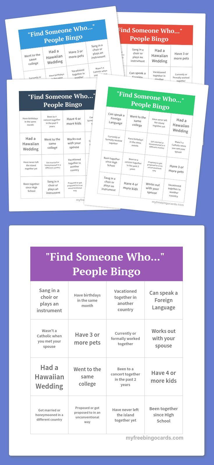 """Find Someone Who...""  People Bingo"