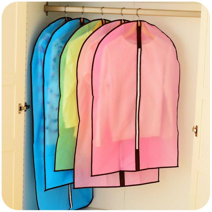 Silencioso amor transparente impermeável saco de armazenamento de roupas casaco roupas de plástico pendurado bolso vestido de manga alishoppbrasil