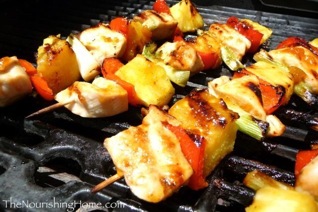 Grilled Pineapple Chicken Kebobs (GF) #TheNourishingHome