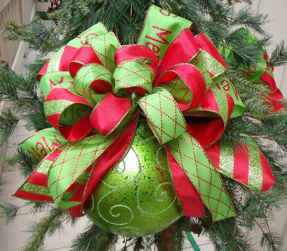 Red and Lime Christmas Ornaments, Bow Ornament, Tree Decoration, Over The Top Ornament, Large Christmas Ornament