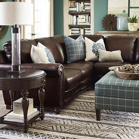 L Shaped Sectional Leather Couches Living Room Brown
